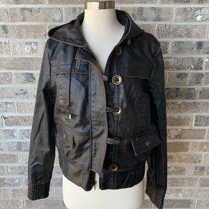 HYDRAULIC Faux Leather Bomber Jacket Coat Hood L